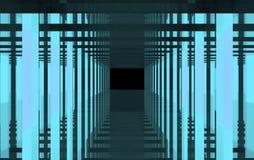 Eine abstrakte blaue Zeichnung des Lichtes und des Stahls Lizenzfreies Stockfoto