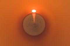 Eine abstrakte Sonnenuhr in Form eines Balls und eines sonnigen Glühens Stockfotografie
