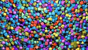 Eine abstrakte Wiedergabe 3d des Hintergrundes mit bunt Würfel, Bereich, Zylinder, Kapsel, pyram lizenzfreies stockfoto