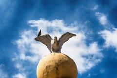 Eine Adlerskulptur und eine Livetaube Lizenzfreies Stockfoto