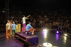 : Eine Akrobatiktruppe führt ihre Shows durch, und es gibt viele Leute, welche die Show aufpassen und genießen lizenzfreie stockbilder