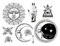 Eine alte astronomische Illustration der Sonne, der Mond, die Sterne, die Rose lizenzfreie abbildung