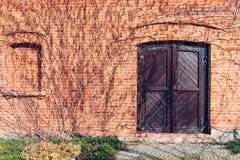Eine alte Backsteinmauer und eine hölzerne geschlossene Tür umgeben durch blattloses Lizenzfreie Stockbilder