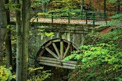 Eine alte Bogenbrücke, verstärkte Stämme Stockfoto