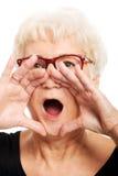 Eine alte Frau ist schreiendes Nennen. Lizenzfreie Stockfotografie