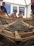 Eine alte hölzerne Bootswiederherstellung Lizenzfreies Stockbild