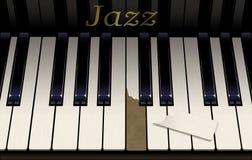 Eine alte Jazzklaviertastatur hat eine Unterbrechungstaste vom aggressiven Klavierspielen Das Emblem auf dem Klavier sagt Jazz in stockbilder