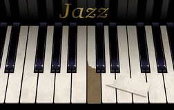 Eine alte Jazzklaviertastatur hat eine Unterbrechungstaste vom aggressiven Klavierspielen Das Emblem auf dem Klavier sagt Jazz in lizenzfreies stockbild