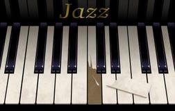 Eine alte Jazzklaviertastatur hat eine Unterbrechungstaste vom aggressiven Klavierspielen Das Emblem auf dem Klavier sagt Jazz in stockfotografie