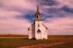 Eine alte Kirche in North Dakota Stockbild