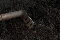 Eine alte Schaufel, die in die Schwarzerde fest ist, grub in den Garten Lizenzfreie Stockfotos
