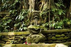 Eine alte Steingottheit mit einem Bart, einem gelockten Haar, runde Augen, große Zähne und Reißzähne, gelegen im tropischen Wald  Lizenzfreie Stockfotos