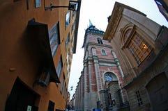 Eine alte Straße im Bereich Gamla Stan von Stockholm, Schweden Lizenzfreies Stockbild