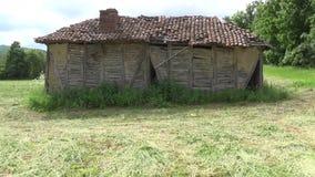Eine alte verlassene Hütte in der Wiese stock video