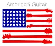 Eine amerikanische Flagge hergestellt aus Gitarrenteilen heraus Lizenzfreies Stockfoto