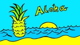 Eine Ananas schwimmt im blauen Meer unter einem Türkishimmel mit einem hawaiischen Gruß lizenzfreie abbildung