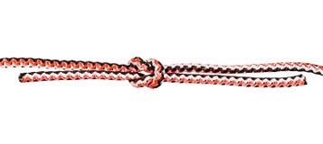 eine andere Seite des Riffknotens gebunden auf synthetischem Seil stockbild