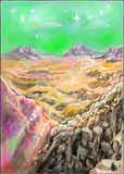 Eine andere Welt, Berg, Himmel, Stern Stock Abbildung