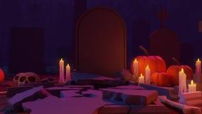 Eine Animation des Kirchhof-Szenen-Endes mit einem Süßes sonst gibt's Saures Zeichen, das aus ein Grab herauskommt vektor abbildung