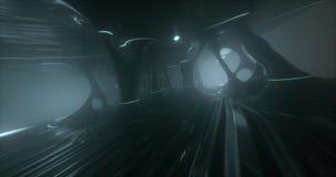 Eine Animation innerhalb einer surrealistischen ausländischen Höhle, mit sonderbaren Lichtern und Geometrie stock video footage