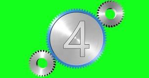 Eine Animation von Gängen mit Zahlen von zehn bis null herein ein grüner Farbenreinheitshintergrund lizenzfreie abbildung
