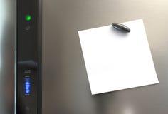 Eine Anmerkung über einen Kühlschrank Stockfotos