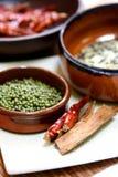 Eine Anordnung für das Kochen der Bestandteile. Lizenzfreie Stockfotografie