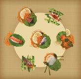 Eine Ansammlung Sushi Lizenzfreies Stockbild