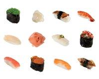 Eine Ansammlung Sushi getrennt Lizenzfreies Stockbild