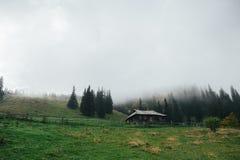 Eine Ansicht über das Karpatenkiefernholzhaus Stockbild