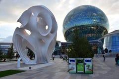 Eine Ansicht über den AUSSTELLUNGS-Bereich in Astana im Jahre 2017 stockbilder