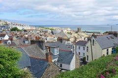 Eine Ansicht über Gebäude von St. Ives stockbild