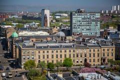 Eine Ansicht über Glasgow City Centre von 17 Böden über Bothwell-Straße, die über Blythswood-Quadrat schaut Stockbilder