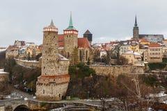 Eine Ansicht über historisches Teil von Bautzen-Stadt, Sachsen stockbilder