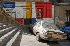 Eine Ansicht der bunten Straße von Valparaiso, Chile Lizenzfreies Stockfoto