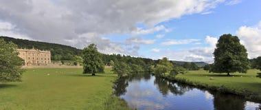 Eine Ansicht des Chatsworth Hauses, Großbritannien stockfotografie