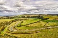 Eine Ansicht des Cuckmere River Valley in East Sussex, Süd-England stockfotos