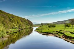 Eine Ansicht des Flusses Lune nahe Lancaster Lizenzfreie Stockbilder