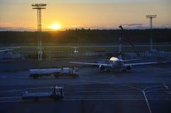 Eine Ansicht des frühen Morgens von Domodedovo-Flughafen Lizenzfreies Stockfoto