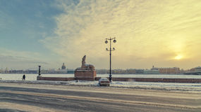 Eine Ansicht des Hochschuldammes im Schneesturm Lizenzfreies Stockfoto