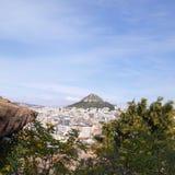 Eine Ansicht des Lycabetus Hügels Lizenzfreie Stockfotografie