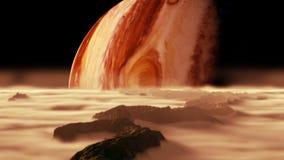 Eine Ansicht des Planeten Jupiter, wie von einem seiner Monde gesehen vektor abbildung