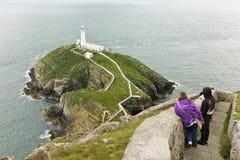 Eine Ansicht des Südstapel-Leuchtturmes, Wales Lizenzfreie Stockbilder