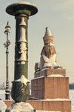 Eine Ansicht des Spxinx am Hochschuldamm im Schneesturm Stockfotografie