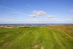 Eine Ansicht des Tals von York vom Hoch auf den Yorkshire-Wolds in der Sommerzeit Stockbild