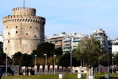 Eine Ansicht des weißen Turms, Saloniki, Griechenland Markstein der Stadt Stockfotos