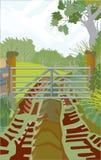 Eine Ansicht durch ein Bauernhof-Tor Lizenzfreie Stockfotografie