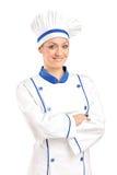 Eine Ansicht einer glücklichen weiblichen Bäckeraufstellung Lizenzfreie Stockfotografie