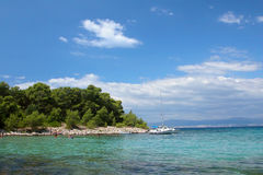 Eine Ansicht eines Inselstrandes stockbilder