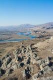 Eine Ansicht vom Berg an der alten Erbstadt Uplistsikhe Stockfoto